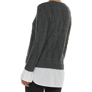 Women's ELLE Mock-Layer Cable Chiffon Trim Sweater